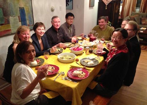 Ana Gil García, Judith Yturriago, Tatiana, husband, Cheng, Richard Follet and his wife Jill, Ronald Harvey and Lin Chen.