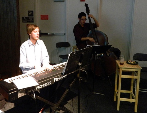 A Columbia College trio played jazz music at the Holiday event