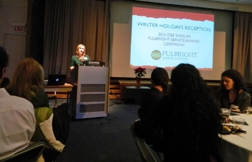 Nancy Day, Chairperson of the Journalism Department at Columbia College Chicago welcomes the audience