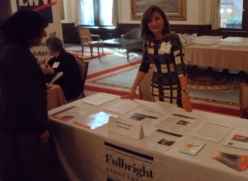 Dr. Ana Gil-García at the fair prior to the 2013 International Women's Day luncheon