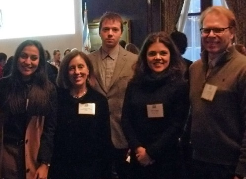 Dr. Marilyn Susman and Ron Harvey with Fulbright students at the IWD luncheon