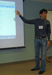 Chicago Chapter vice president Elio Leturia presenting on website and blog management