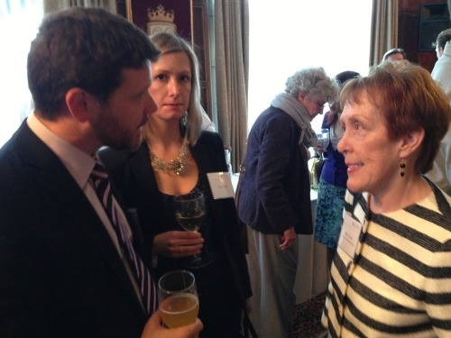 Executive DIrector of the Fulbright Association Stephen Reilly and his wife talk with Betty Castor, member of the FFSB