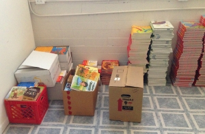 Donated books at the book drive