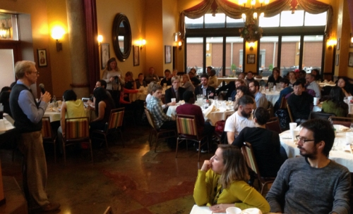 Chicago Chapter president Ron Harvey welcoming Fulbright students, scholars and alumni to Pompei Restaurant.