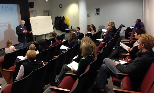 "Fred Siegman leading the ""Branding "" workshop at Columbia College Chicago"
