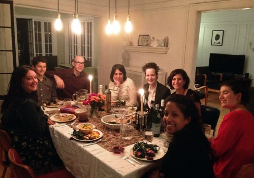 Aisha Malik from Pakistan, Mariana Tesch Morgan from Brazil and Gaetana Poponcini from Belgium spent Thanksgiving in Evanston, at the house of professors  Dave and Debra Tolchinsky