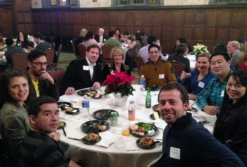 Fulbright students, scholars and association members at the holiday celebration