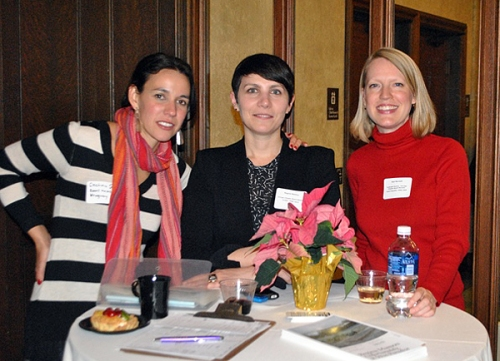 Welcoming committee: Board members Cristina Sisson, Regina Mamou and Kari Burnett