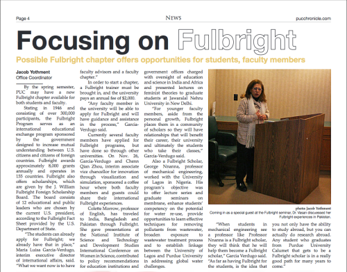 Article featured on the Purdue University Calumet Chronicle on the Fulbright activities