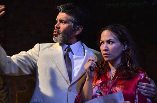 "Elio Leturia as Senator Clarke and Marcela Muñoz as Lizzie MacKay in ""La Fulana Respetuosa."""