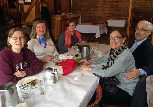 At Reza's restaurant, Jane Florine, Mary Mares-Awe, scholar Mariya Shymchyshyn, Marylin Susman and her husband.