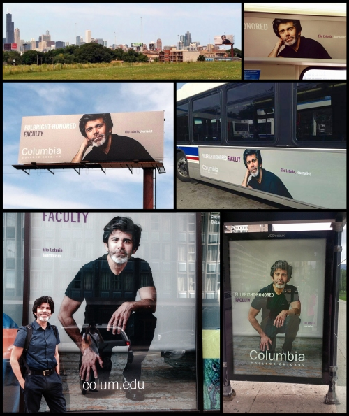 The advertising campaign includes billboards, buses, bus stops, inside trains and the COlumbia College Chicago campus.