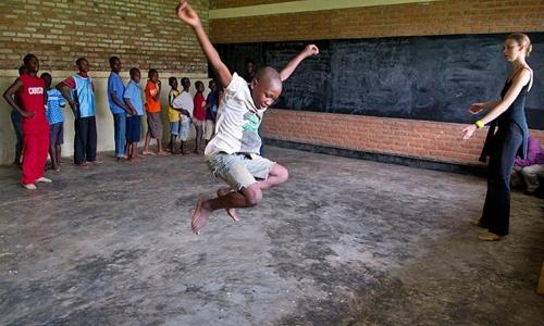 Rebecca Davis (far right) teaches in Kigali, Rwanda, as part of a dance program