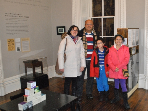 Visiting Fulbright Scholar Dr. Sani Basha with his family at the Jane Adams Hull House Museum
