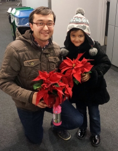 Fulbrighter Aziz Pulatov from Uzbekistan and his daughter