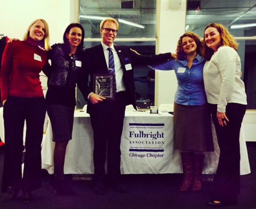 Chicago Chapter board members Kari Burnett, Cristina Sisson, Jenni Schneiderman and Meredith McNeil celebrate with Ron Harvey, recipient of the 2014 Dee Sarelas Service Award
