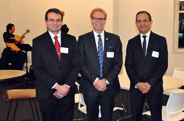 Mr. Javier Rojas, Honorable Consul of Costa Rica,  Fulbright Chicago Chapter President Ron Harvey and Mr. Vincent Floreani, Honorable Consul General of France