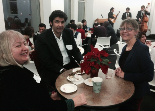 Professor Norma Green, Ahmed Affan from Pakistan and Gigi Posejpal, Director of International Student Affairs at Columbia College Chicago
