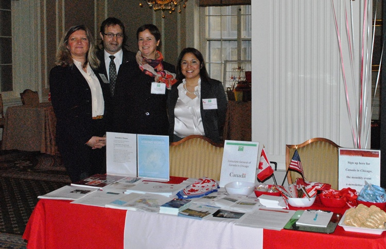 Chicago Chapter President Mary Mares-Awe with members of the Canadian delegation Scott McCook, Coleen Duke and Paula Cabrera