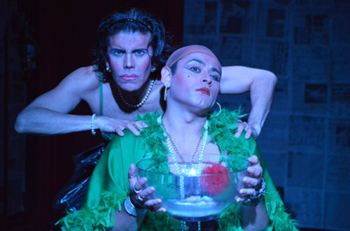 Elio Leturia as Dolores and Oliver Aldape as María in Orchids in the Moonlight by Carlos Fuentes, directed by Sándor Menéndez.