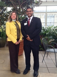 Chicago Chapter president Mary Mares-Awe and Rhandy Barba, Fulbright student from Panama.