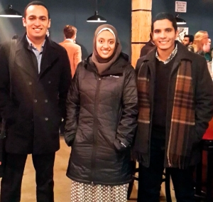 Egyptian Fulbrighters (L-R) Khalid Shaalan, Raghda El-Mogui, and Mohamed Omar enjoyed the iO Theater improv comedy performance.
