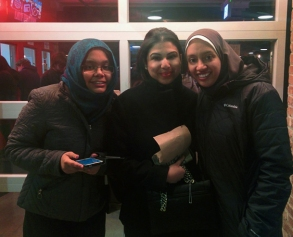 Fulbrighters (L-R) Shafia Imtiaz, Shehrbano Minallah, and Raghda El-Mogui had fun attending the Shakespeare comedy improv performance at iO Theater.