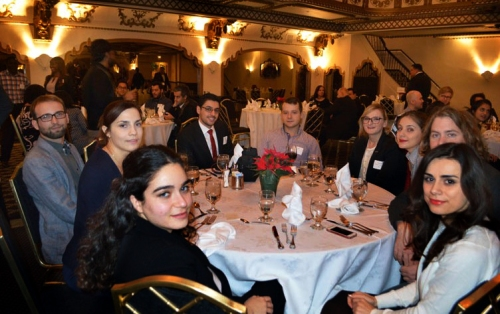 Fulbright Students attending the 2015 Chicago Chapter Winter Holiday Reception at the KnickerBoxer Hotel.