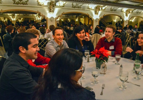 Fulbright guests enjoying a lively conversation