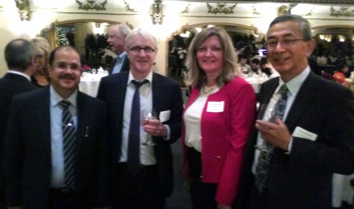 Dr. Ausaf Sayeed, Hon. Consul General of India; Mr. Michael Wood, Hon. Consul General of Australia; Mary Mares-Awe, President of the Chicago Chapter and Hon. Consul General of Japan.