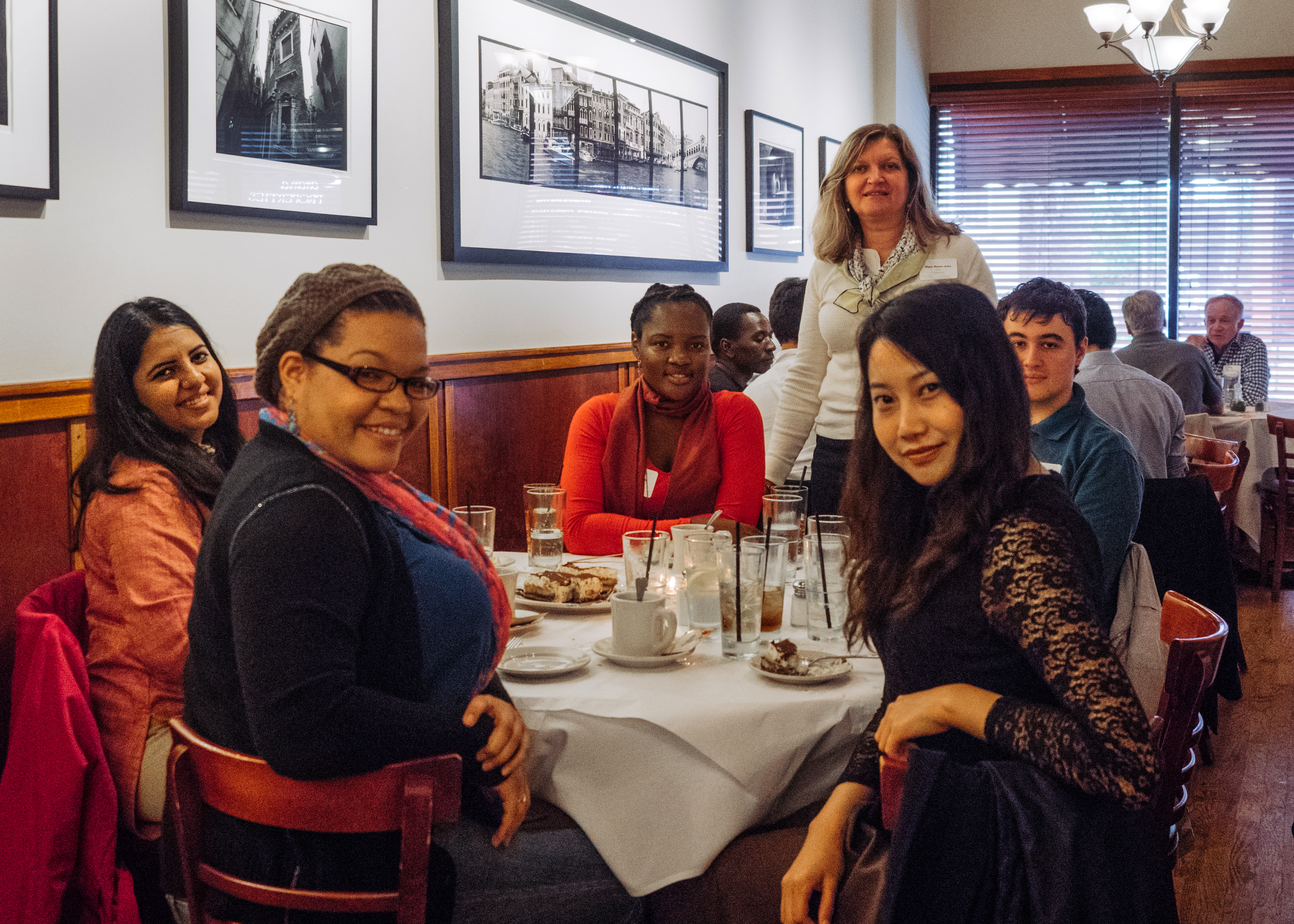 Fulbright students and scholars with Chicago Chapter President Mary Mares-Awe at Francesca's Restaurant in Little Italy