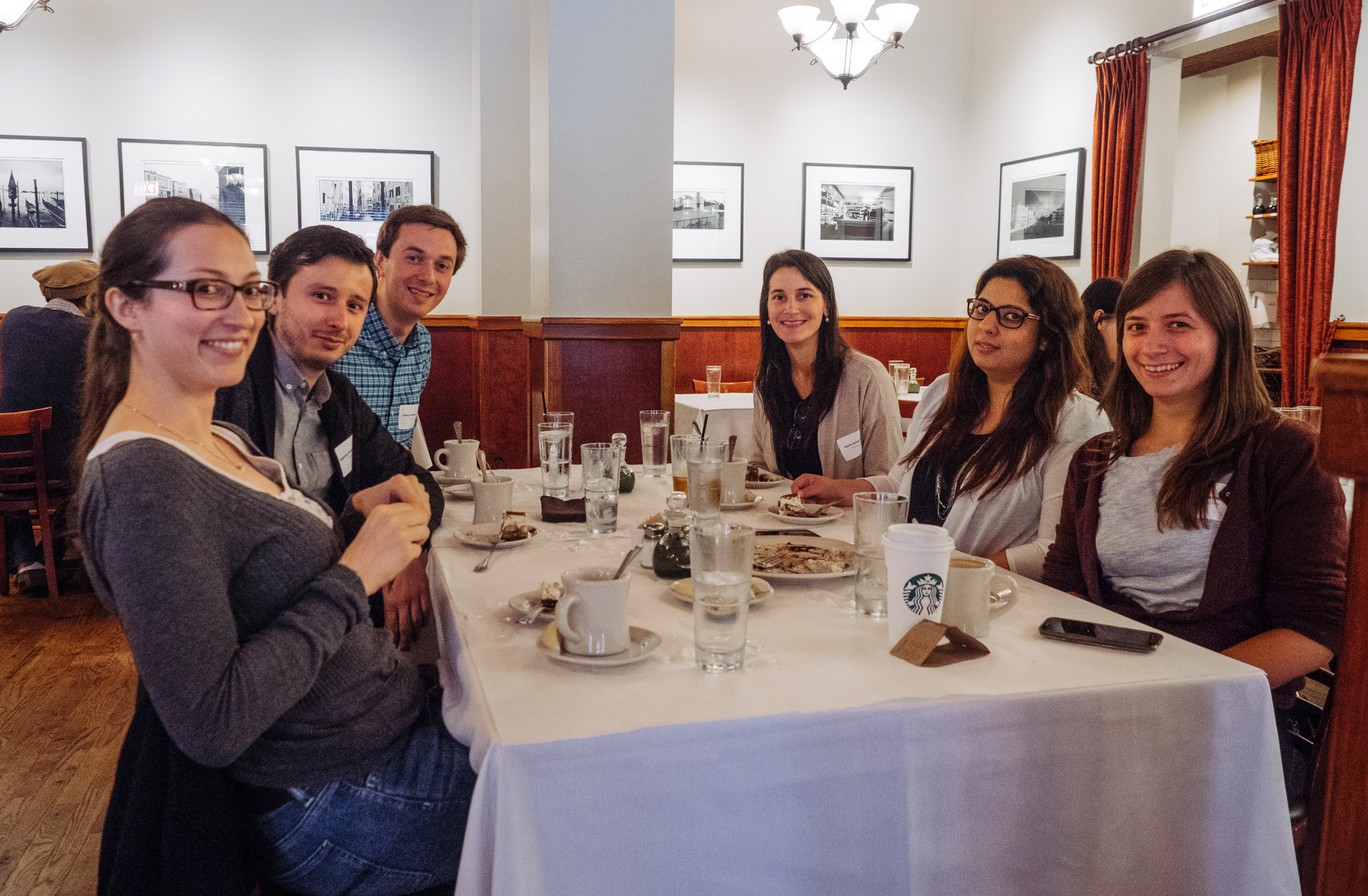 Fulbright students and scholars at Francesca's Restaurant in Little Italy