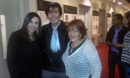 Peruvian Deputy Consul Annie Saucedo, documentarian Elio Leturia and performer Alba Guerra.
